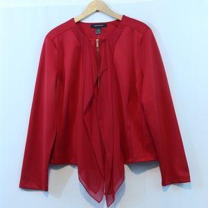 Ashley Stewart Red Waterfall Zip Up Blazer Jacket